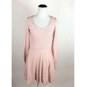 Free People Pink Lace Crochet Back Waffle Dress